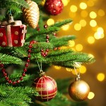 Decorated Christmas tree on  blurred, sparkling and fairy background; Shutterstock ID 228613051